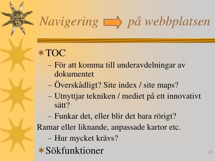 Navigering         på webbplatsen