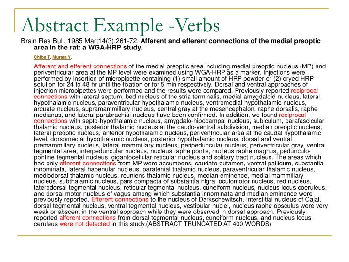 Abstract Example -Verbs