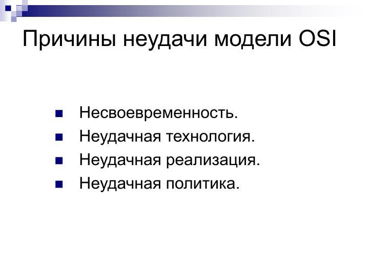 Причины неудачи модели OSI