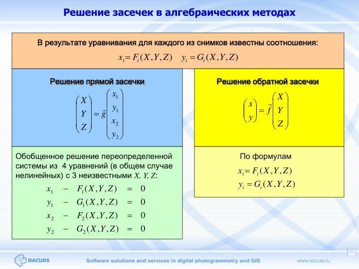 Решение засечек в алгебраических методах
