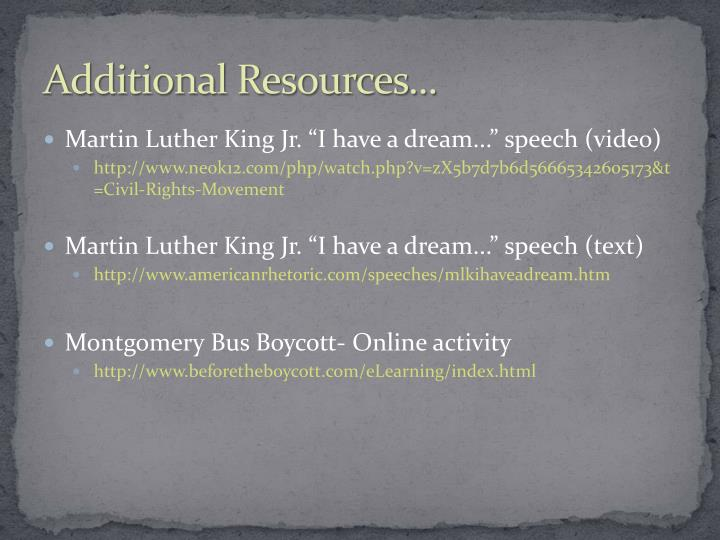 Additional Resources...