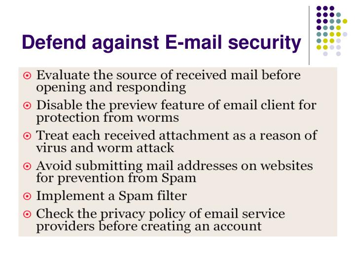 Defend against E-mail security