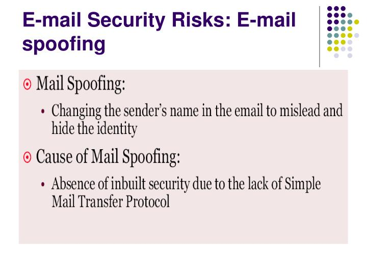 E-mail Security Risks: E-mail spoofing