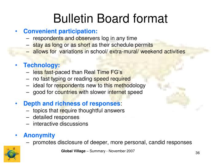 Bulletin Board format