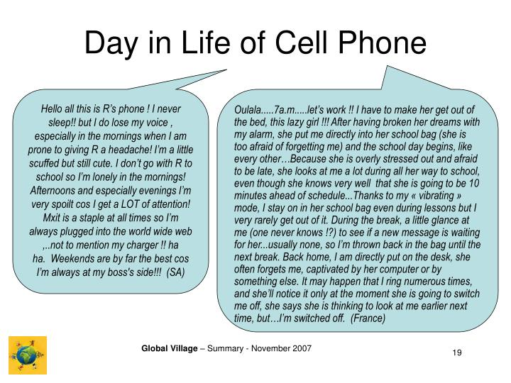 Day in Life of Cell Phone