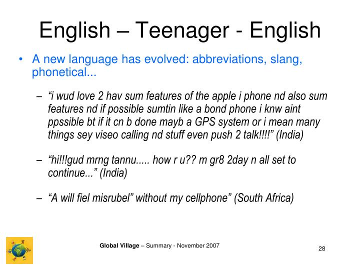 English – Teenager - English