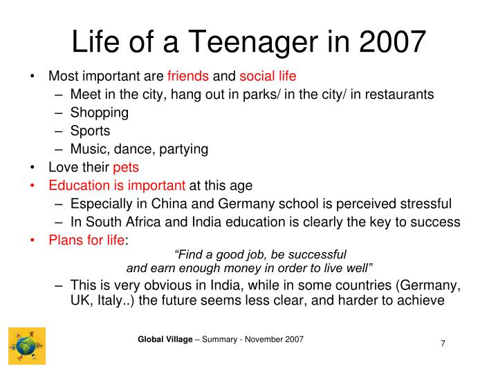 Life of a Teenager in 2007