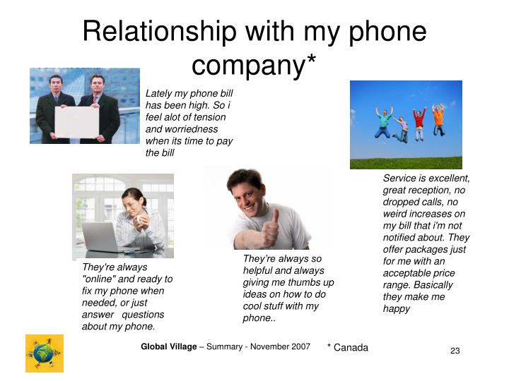 Relationship with my phone company*