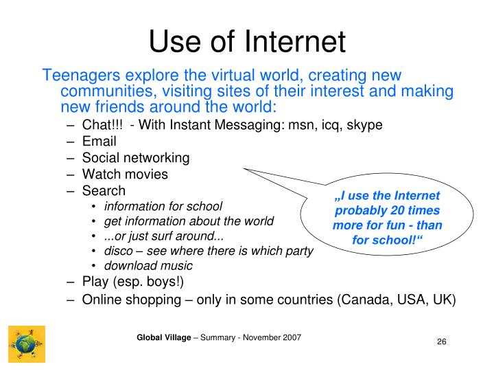 Use of Internet