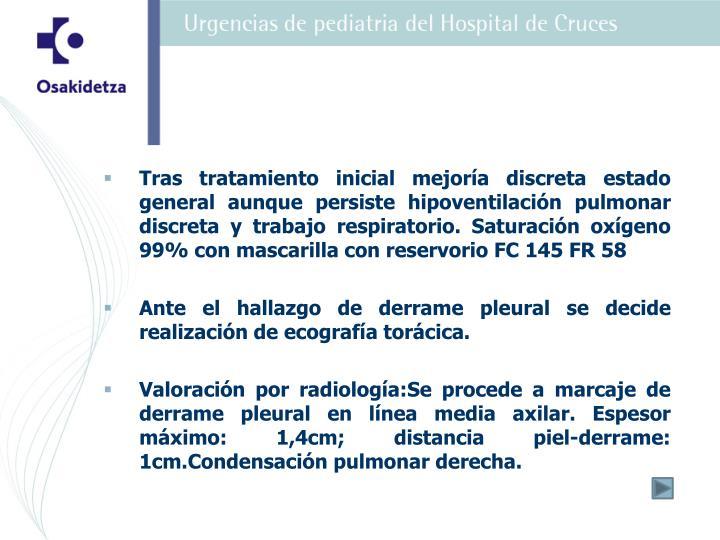 Tras tratamiento inicial mejoría discreta estado general aunque persiste hipoventilación pulmonar discreta y trabajo respiratorio. Saturación oxígeno 99% con mascarilla con reservorio FC 145 FR 58
