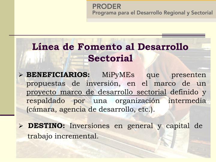 Línea de Fomento al Desarrollo Sectorial