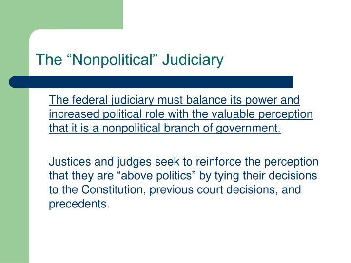 """The """"Nonpolitical"""" Judiciary"""