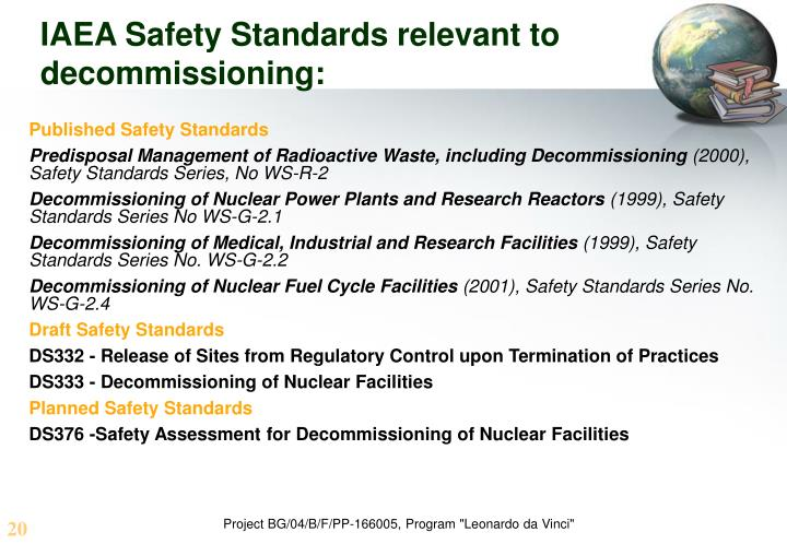IAEA Safety Standards relevant to decommissioning: