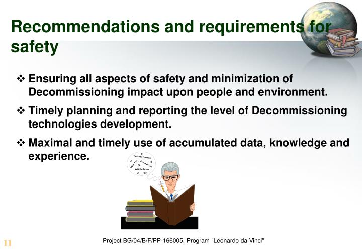 Recommendations and requirements for safety