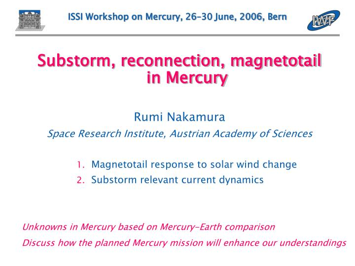 Issi workshop on mercury 26 30 june 2006 bern