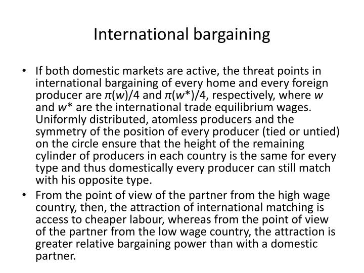 International bargaining