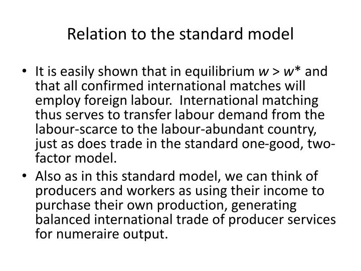 Relation to the standard model
