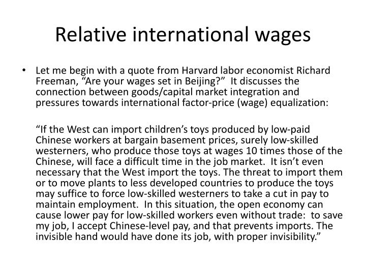 Relative international wages