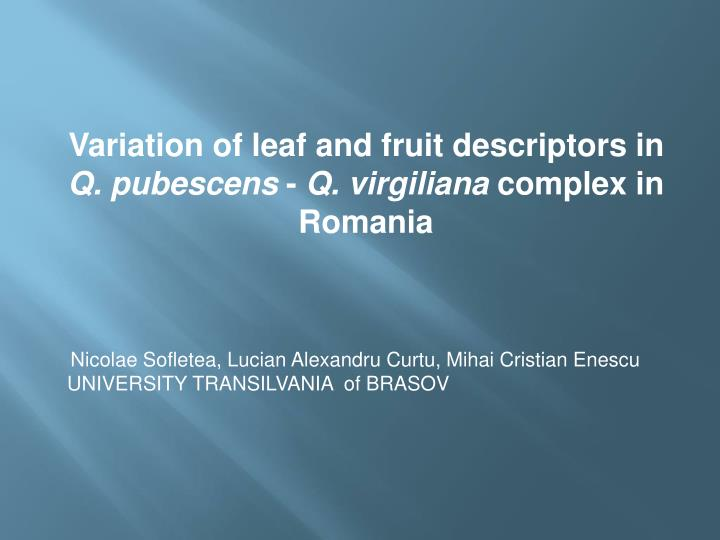 Variation of leaf and fruit descriptors in