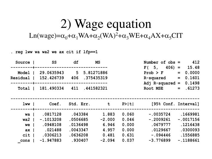 2) Wage equation
