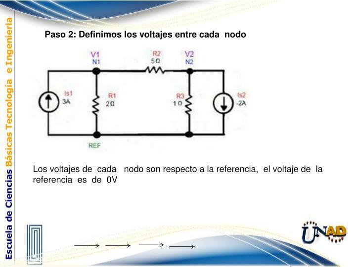 Paso 2: Definimos los voltajes entre cada  nodo