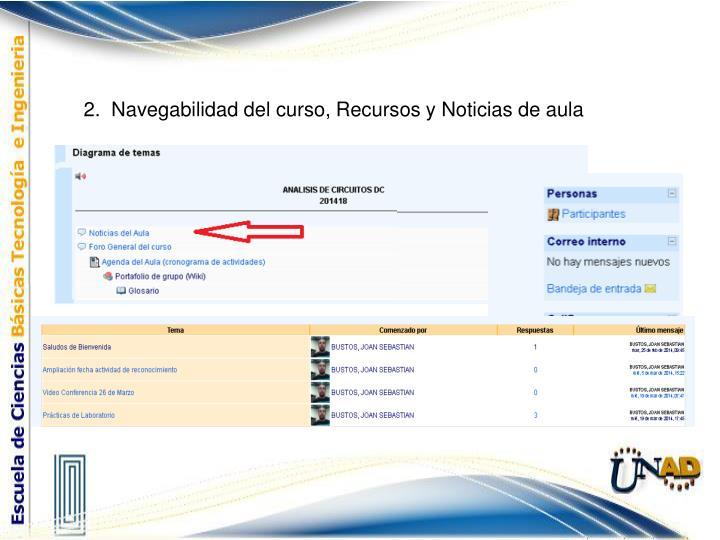2.  Navegabilidad del curso, Recursos y Noticias de aula
