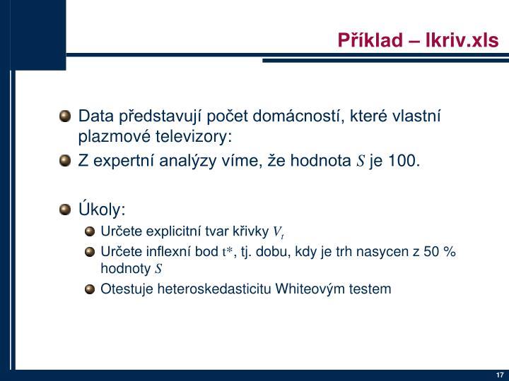 Příklad – lkriv.xls