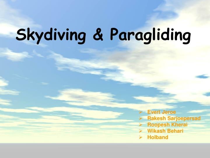 Skydiving paragliding