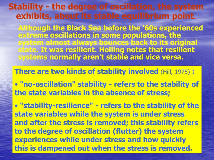 Stability - the degree of oscillation, the system exhibits, about its stable equilibrium point