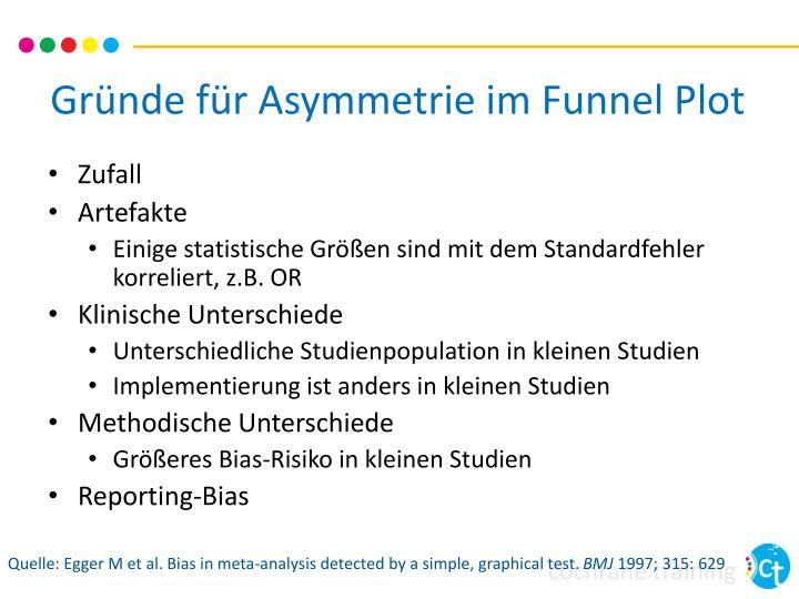 Gründe für Asymmetrie im Funnel Plot