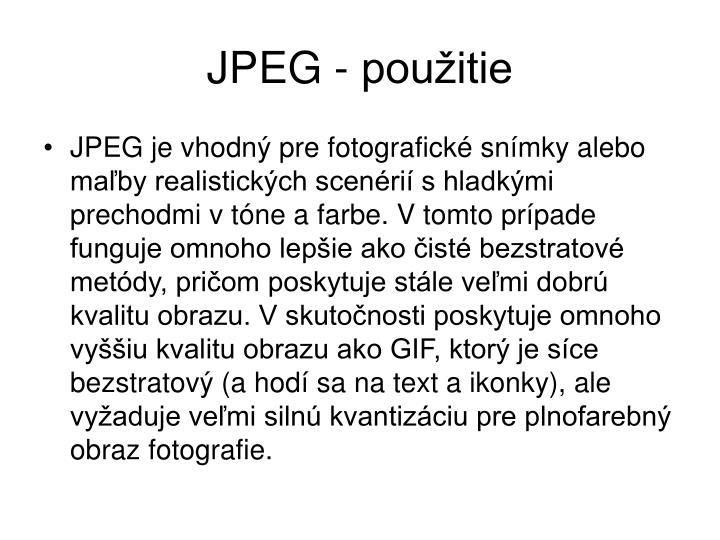 JPEG - použitie