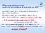 mammographiescreening senkt die mortalit t an brustkrebs um 25