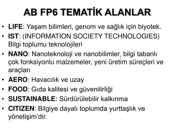 AB FP6 TEMATİK ALANLAR