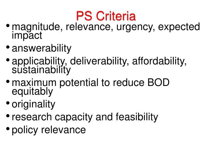 PS Criteria