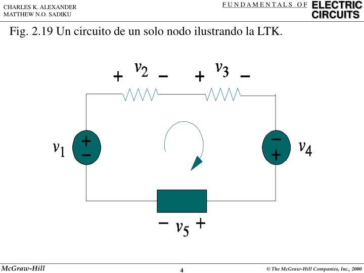Fig. 2.19 Un circuito de un solo nodo ilustrando la LTK.