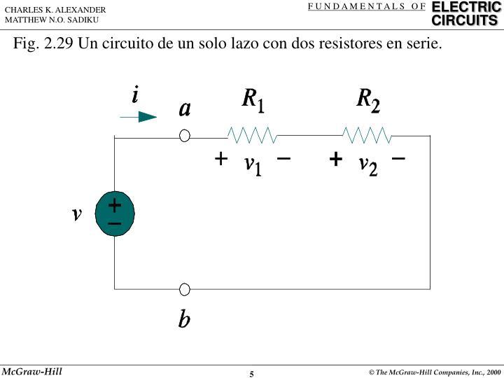 Fig. 2.29 Un circuito de un solo lazo con dos resistores en serie.
