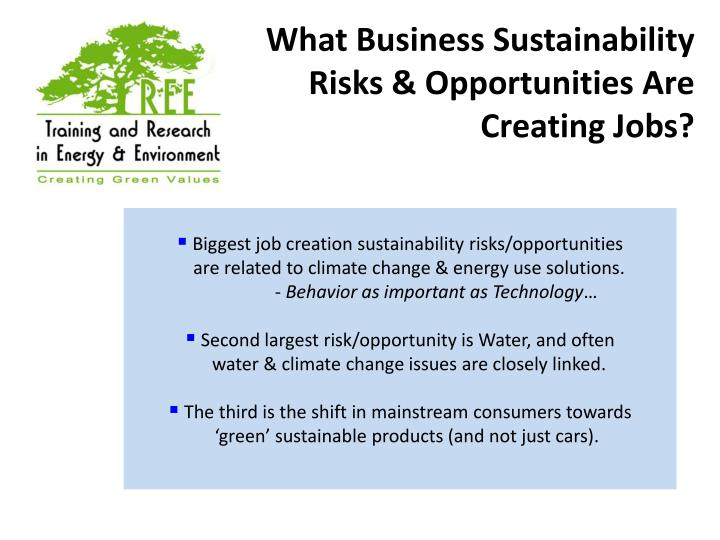 What Business Sustainability Risks & Opportunities Are Creating Jobs?