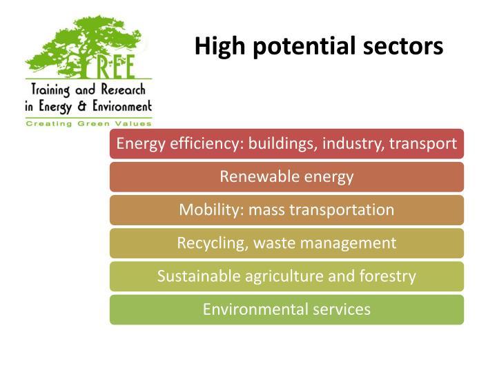 High potential sectors