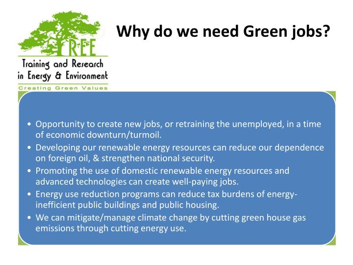 Why do we need Green jobs?