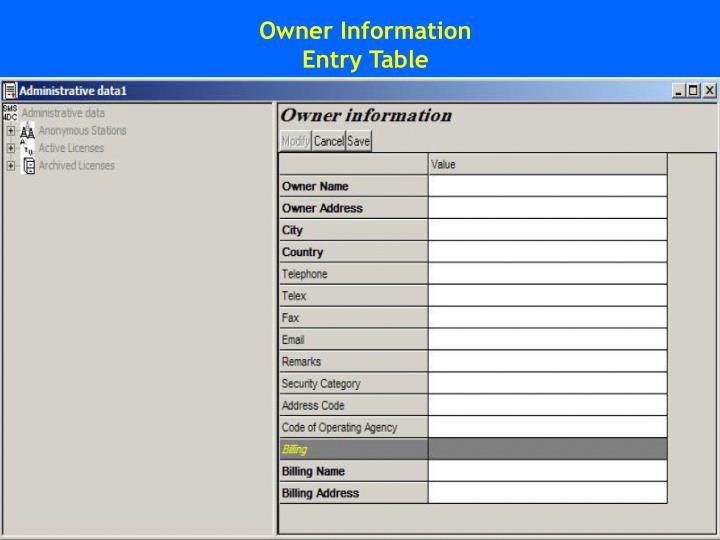Owner Information