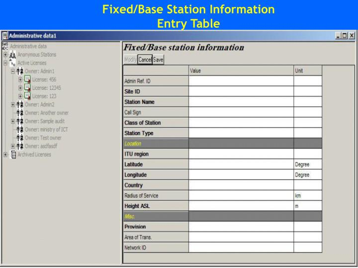 Fixed/Base Station Information