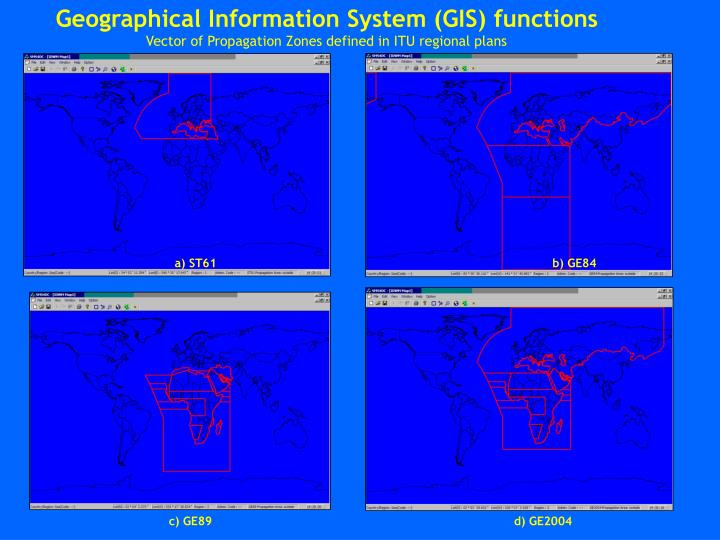 Geographical Information System (GIS) functions