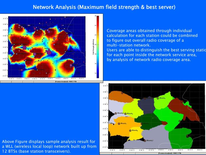 Network Analysis (Maximum field strength & best server)