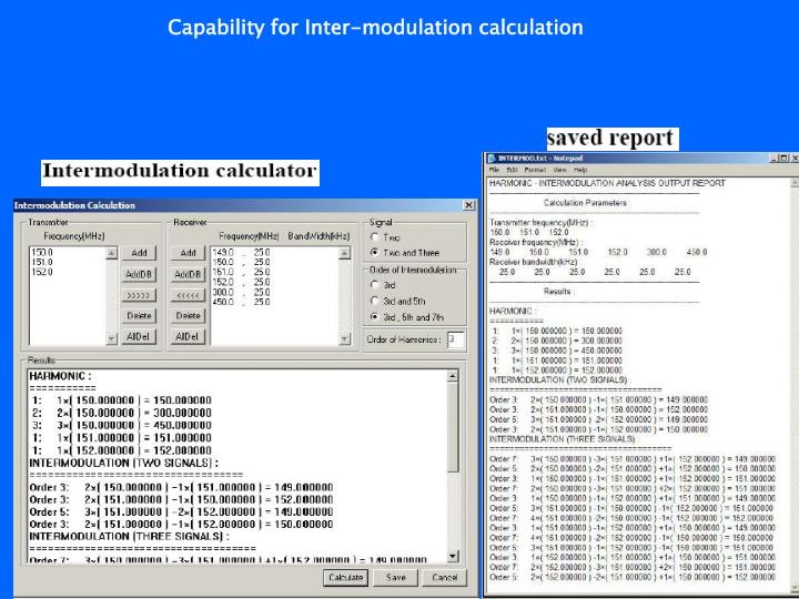 Capability for Inter-modulation calculation