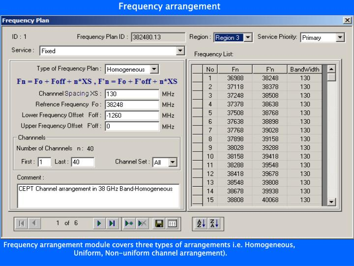 Frequency arrangement