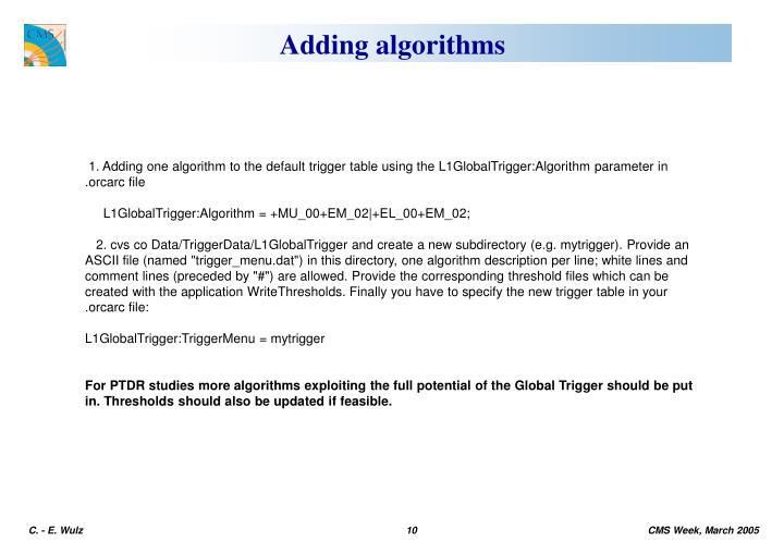Adding algorithms