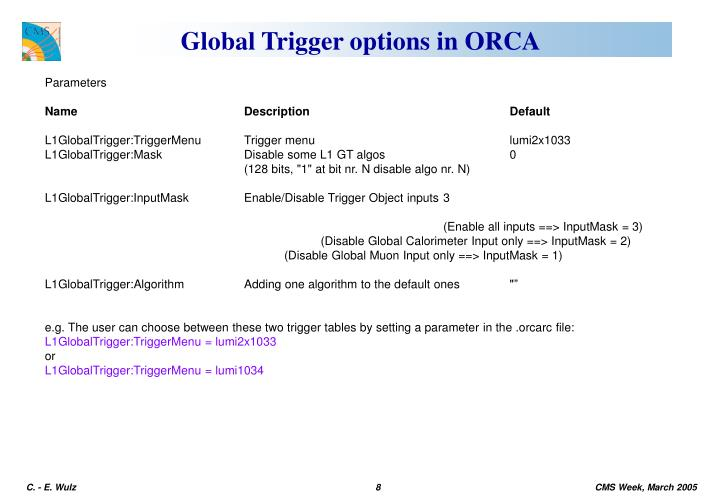 Global Trigger options in ORCA