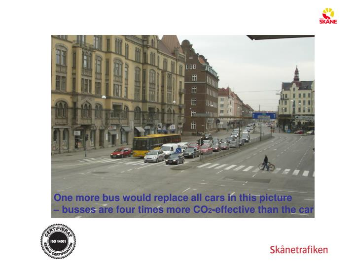 One more bus would replace all cars in this picture