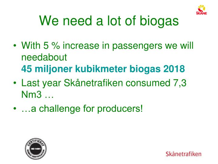 We need a lot of biogas