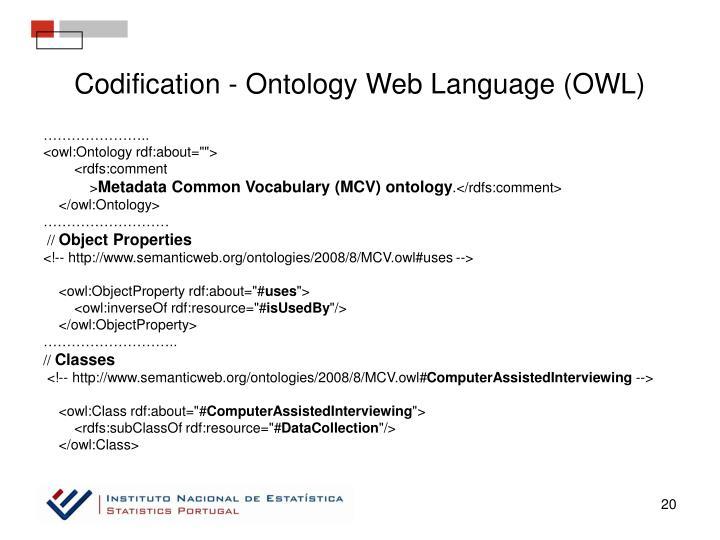 Codification - Ontology Web Language (OWL)